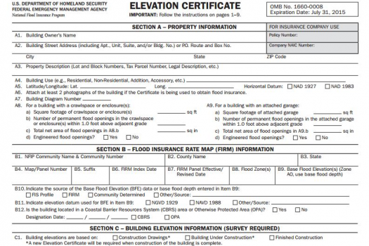 elevation survey, flood survey, elevation certificate